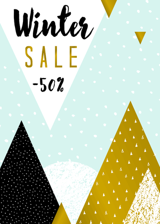 announcements: Abstract geometric composition in light blue, white, black and gold. Modern winter sale poster, flyer, brochure design.
