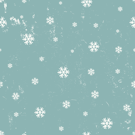 Vintage seamless pattern with snowflakes in white and blue. Tiling festive background, greeting card or wrapping paper. Illustration