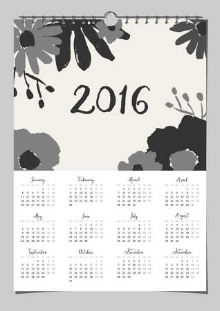 scalable: 2016 calendar design template, scalable to A4 size, printable. Hand drawn monochrome floral composition. Illustration