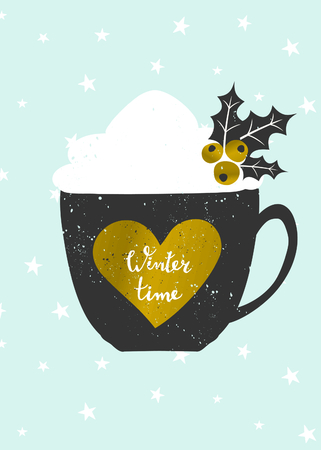 coffee berry: Christmas greeting card template in blue, gold, white and black. A cup of warm beverage decorated with whipped cream and holly on a background with snowflakes. Gold foil heart with hand lettered text Winter Time.