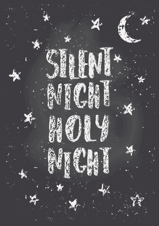 silent: Chalkboard style Christmas greeting card template with stars, moon and text Silent Night, Holy Night. Illustration