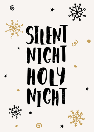 silent: Typographic style Christmas greeting card template with hand drawn snowflakes and text Silent Night, Holy Night.