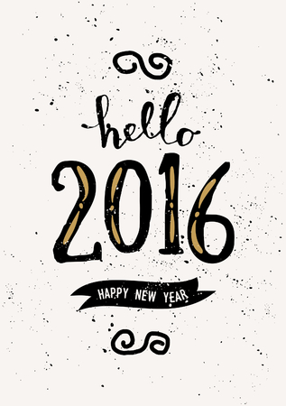 hello: Typographic design vintage greeting card template with text Hello 2016 Happy New Year.