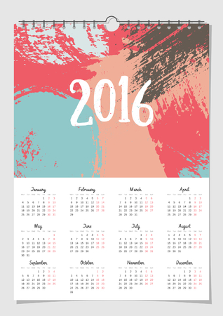 scalable: 2016 calendar design template, scalable to A4 size, printable. Hand drawn abstract brush strokes composition. Illustration