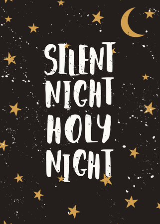 silent: Christmas greeting card template with stars, moon and text Silent Night, Holy Night.