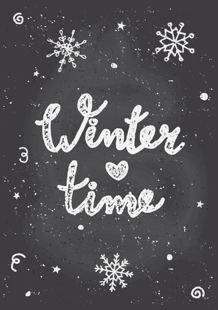 "Chalkboard style Christmas greeting card template with snowflakes and text ""Winter Time""."