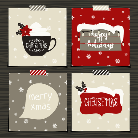 coffee cup vector: A set of four Christmas greeting card template designs on wood background. Illustration