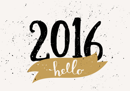 hello: Typographic design greeting card template Hello 2016. Vintage style poster, greeting card, postcard design in black, cream and golden yellow. Illustration