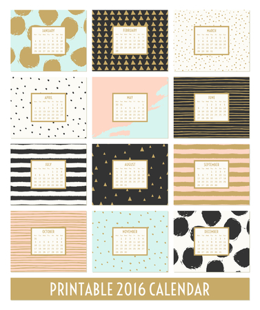 Twelve month 2016 calendar template. Hand drawn patterns in black, gold, pastel blue, pink and cream.