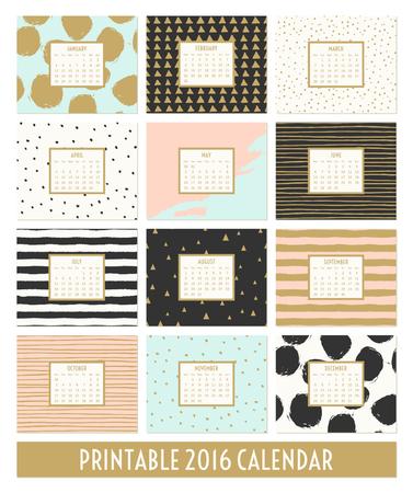 pink: Zwölf Monate 2016 Kalendervorlage. Hand gezeichnete Muster in schwarz, gold, pastellblau, rosa und Sahne.