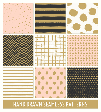 black: A set of nine hand drawn seamless patterns in black, gold, pastel pink and cream. Stripes, polka dots, triangles, chevron, round brush stroke patterns. Modern and stylish print, greeting card, gift paper, poster designs.