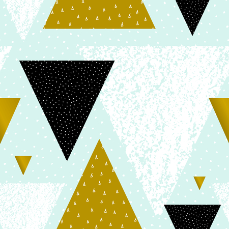 Abstract geometric seamless repeat pattern in black, white, green and pastel blue. Hand drawn vintage texture, dots pattern and geometric elements. Modern and stylish abstract design poster, cover, card design. 일러스트
