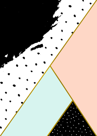 Abstract geometric composition in black, white, gold, pastel pink and blue. Hand drawn brush stroke, dots pattern and geometric elements. Modern and stylish abstract design poster, cover, card design.  イラスト・ベクター素材