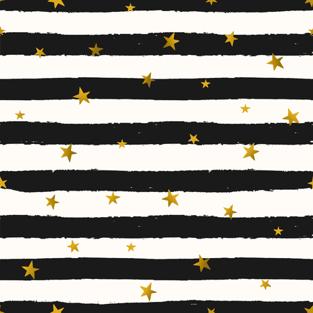 star pattern: Seamless repeat pattern with gold foil stars on black and white stripes background. Tiling festive background, greeting card or wrapping paper.