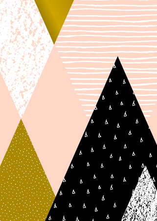 pattern is: Abstract geometric composition in black, white, gold and pastel pink. Hand drawn vintage texture, dots pattern and geometric elements. Modern and stylish abstract design poster, cover, card design.