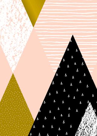 muster: Abstrakte geometrische Komposition in Schwarz, Weiß, Gold und Pastellrosa. Hand gezeichnet Jahrgang Textur, Punktmuster und geometrische Elemente. Das moderne und stilvolle abstrakten Design Plakat, Abdeckung, Kartenentwurf.