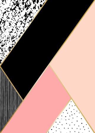 Abstract geometric composition in black, white, gold and pastel pink. Hand drawn vintage texture, lines, dots pattern and geometric elements. Modern and stylish abstract design poster, cover, card design. Illustration