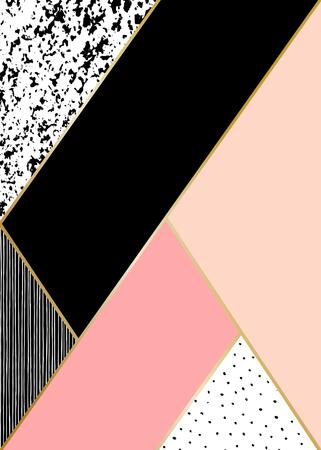muster: Abstrakte geometrische Komposition in Schwarz, Weiß, Gold und Pastellrosa. Hand gezeichnet Jahrgang Textur, Linien, Punkte Muster und geometrische Elemente. Das moderne und stilvolle abstrakten Design Plakat, Abdeckung, Kartenentwurf.