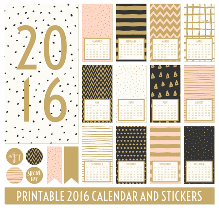 pink and black: Twelve month 2016 calendar template. Hand drawn patterns in black, gold, pastel pink and cream. Matching round stickers and ribbons. Illustration