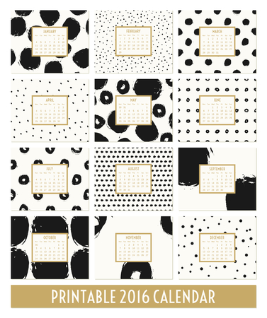 twelve: Twelve month 2016 calendar template. Hand drawn round brush strokes and doodles in black, gold and cream.