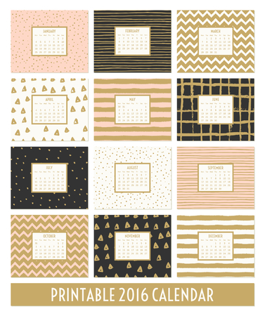 pink and black: Twelve month 2016 calendar template. Hand drawn patterns in black, gold, pastel pink and cream.