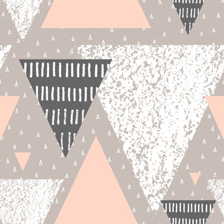 Abstract geometric seamless repeat pattern in white, gray and pastel pink. Hand drawn vintage texture, dots pattern and geometric elements. Modern and stylish abstract design poster, cover, card design.