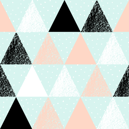 Abstract geometric seamless repeat pattern in black, white, pink and pastel blue. Hand drawn vintage texture, dots pattern and geometric elements. Modern and stylish abstract design poster, cover, card design.