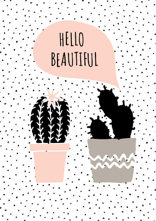 Cute and modern St. Valentine's Day greeting card template. Hand drawn cactus plants and speech bubble, dots texture background, black, white, taupe and pastel pink color palette.