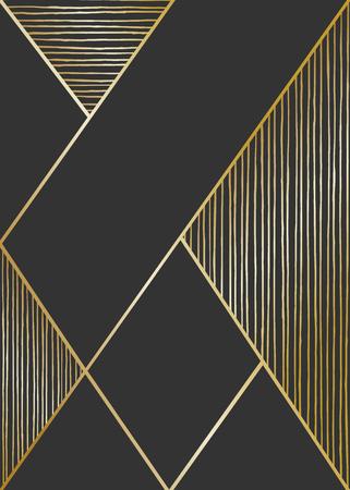 Abstracte geometrische compositie in zwart en gouden. Hand getekende lijnen textuur en geometrische elementen. Modern en stijlvol abstract ontwerp poster, cover, card design. Stock Illustratie