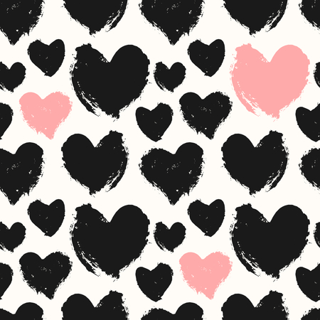 pink and black: Hand drawn seamless repeat pattern with hearts in black, pastel pink and cream. Modern and stylish romantic design poster, wrapping paper, Valentine card design. Illustration
