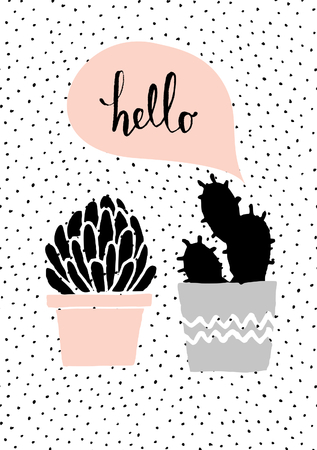 taupe: Cute and modern St. Valentines Day greeting card template. Hand drawn cactus plants and speech bubble, dots texture background, black, white, taupe and pastel pink color palette. Illustration