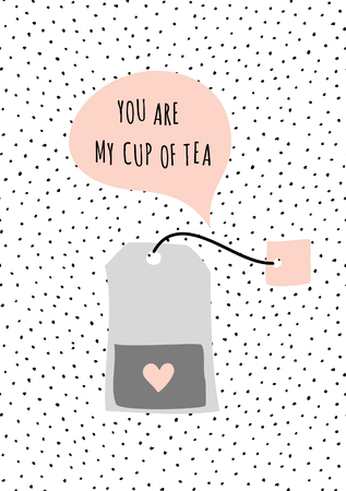 taupe: Cute and modern St. Valentines Day greeting card template. Tea bag and speech bubble, dots texture background, black, white, taupe and pastel pink color palette. Message You Are My Cup of Tea.
