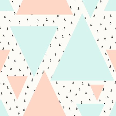 Abstract geometric seamless repeat pattern in black, cream, pastel pink and blue. Modern and stylish abstract design poster, cover, card design.