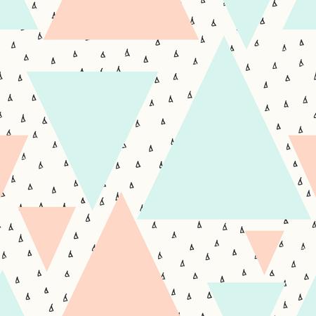 la repetición del patrón geométrico abstracto sin fisuras en negro, crema, rosa pastel y azul. Moderno y elegante Póster de diseño abstracto, cubierta, diseño de la tarjeta. Ilustración de vector