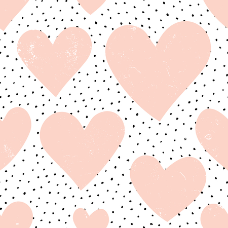 Abstract seamless repeat pattern with hearts and dots in pastel pink,black and white. Modern and stylish romantic design poster, wrapping paper, Valentine card design.
