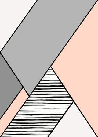 Abstract geometric composition in gray, cream and pastel pink. Modern and stylish abstract design poster, cover, card design.