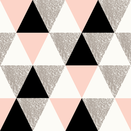 taupe: Abstract geometric seamless repeat pattern in black, white, taupe and pastel pink.. Modern and stylish abstract design poster, cover, card design.