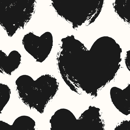 heart hand: Hand drawn seamless repeat pattern with hearts in black and cream. Modern and stylish romantic design poster, wrapping paper, Valentine card design.