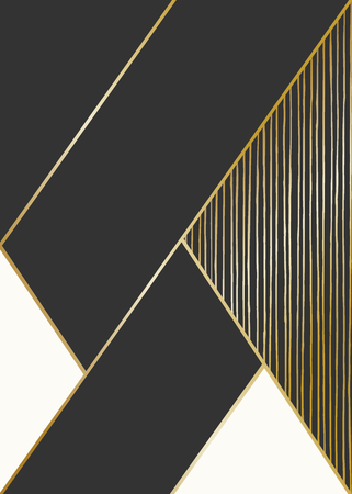 Abstract geometric composition in black, cream and golden. Hand drawn lines texture and geometric elements. Modern and stylish abstract design poster, cover, card design.  イラスト・ベクター素材