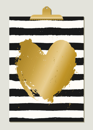 white heart: Modern and stylish St. Valentines Day greeting card template. Hand drawn black and white stripes, gold foil heart, golden clip.