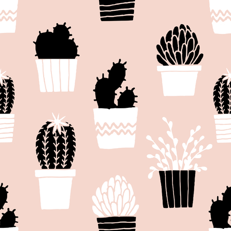 Hand drawn seamless repeat pattern with succulent plants in black, white and pastel pink.