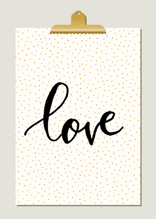 cute cards: Modern and stylish poster template. Hand drawn dots texture, hand lettered text, golden clip. Gold, white and black home decor, typographic wall art design.