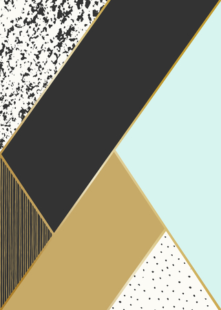 Abstract geometric composition in black, white, gold and mint. Hand drawn vintage texture, lines, dots pattern and geometric elements. Modern and stylish abstract design poster, cover, card design.