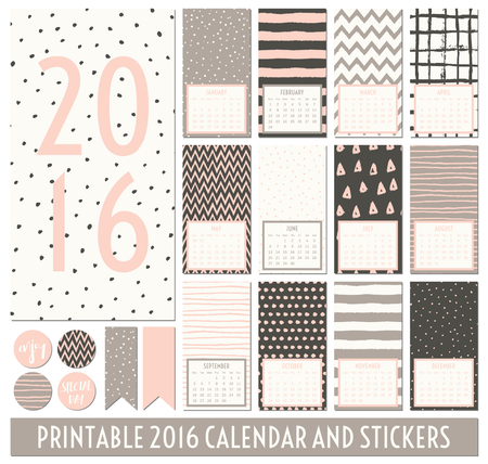 taupe: Twelve month 2016 calendar template. Hand drawn patterns in dark gray, pastel pink, taupe and cream. Matching round stickers and ribbons.