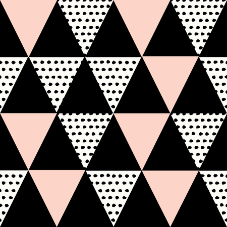 Abstract geometric seamless repeat pattern in black, white and pastel pink. Modern and stylish abstract design poster, cover, card design.