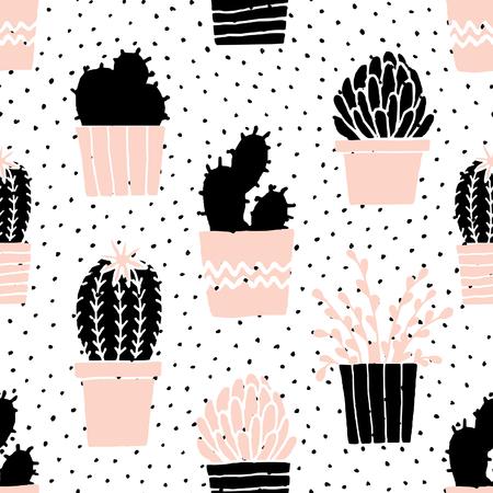 Hand getrokken naadloos herhaalt patroon met vetplanten in zwart, wit en pastel roze.
