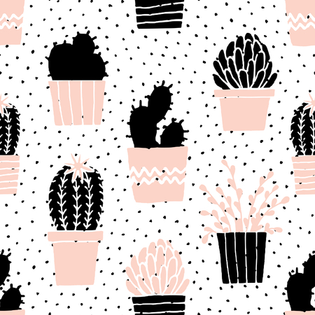 succulent: Hand drawn seamless repeat pattern with succulent plants in black, white and pastel pink.