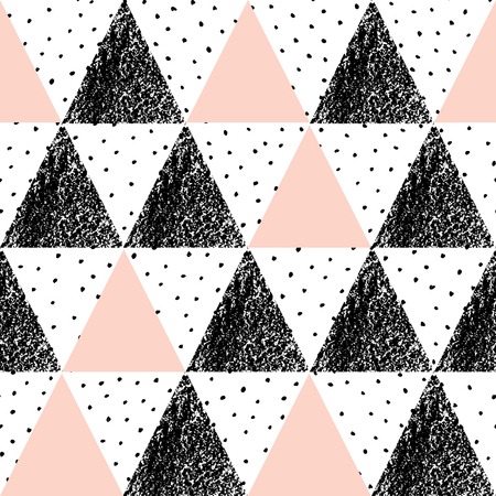repeat texture: Abstract geometric seamless repeat pattern in black, white and pastel pink. Hand drawn vintage texture, dots pattern and geometric elements. Modern and stylish abstract design poster, cover, card design.
