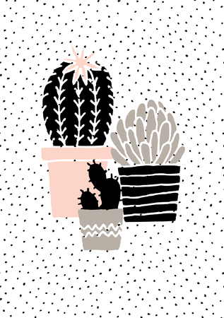 Hand drawn cactus plants in black, white, taupe and pastel pink. Scandinavian style illustration, modern and elegant home decor. Ilustração