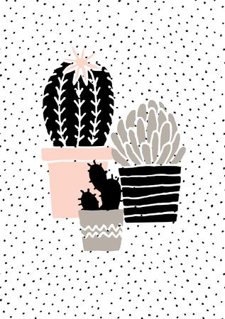 Hand drawn plantes de cactus en noir, blanc, taupe et rose pastel. Scandinave style illustration, décor moderne et élégant.
